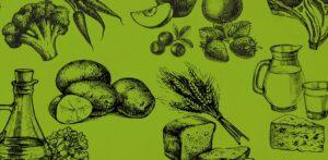 Tecknade grönsaker i svart på en grön bakgrund