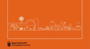 Orange, grafisk bild med jordbruks-, mat- och fiskemotiv. Näringslivsdepartementets logotyp.