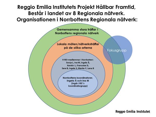 Diagram som visar organisationen i Norrbottens Regionala Nätverk: Gemensamma stora träffar i Norrbottens regionala nätverk, Lokala möten/nätverksträffar på de olika orterna, 9 REI-medlemmar i Norrbotten, Norrbottens koordinatorer. (Fokusgrupp)