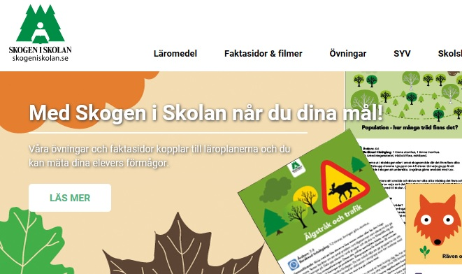 Skärmdump av webbplatsen Skogen i skolan