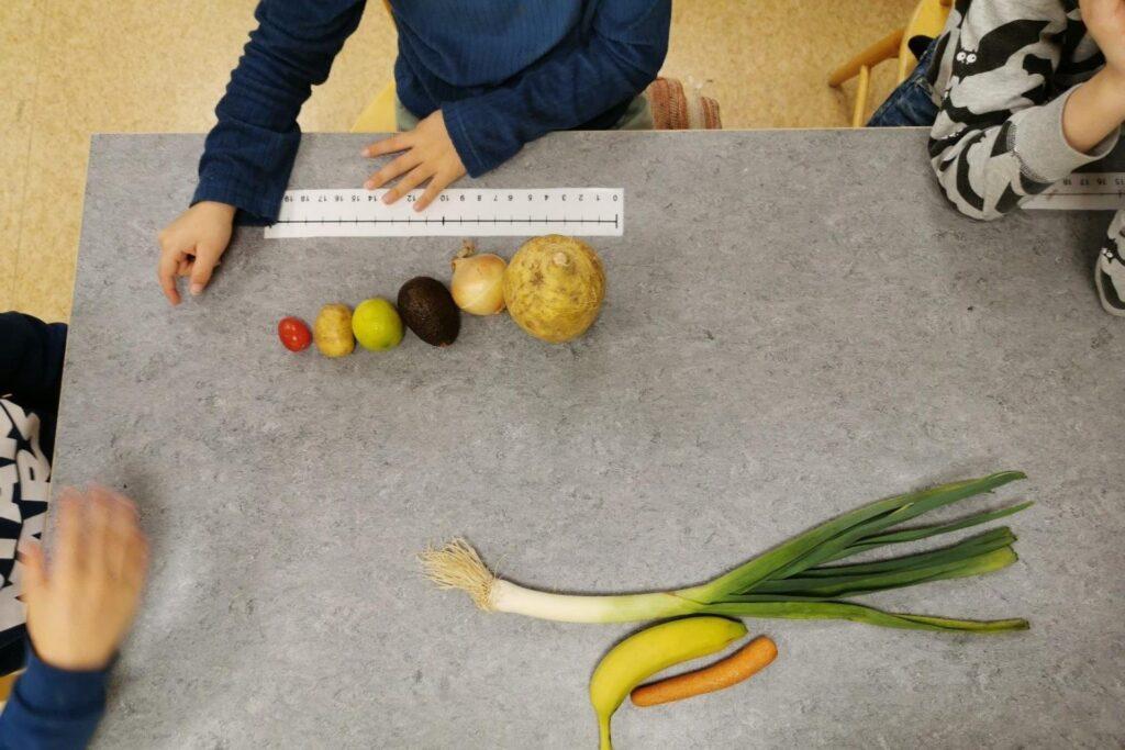 Barn sorterar grönsaker i storleksordning