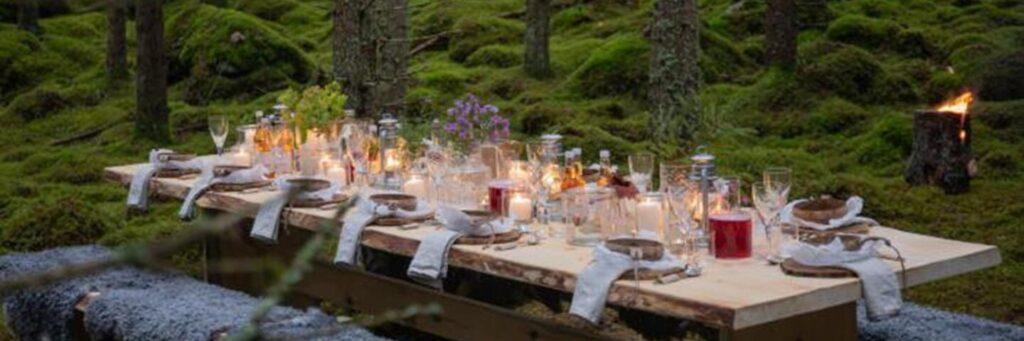 Ett dukat bord i skogen